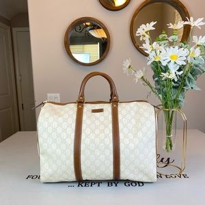 Gucci GG Logo Printed Large Boston Bag Travel bag